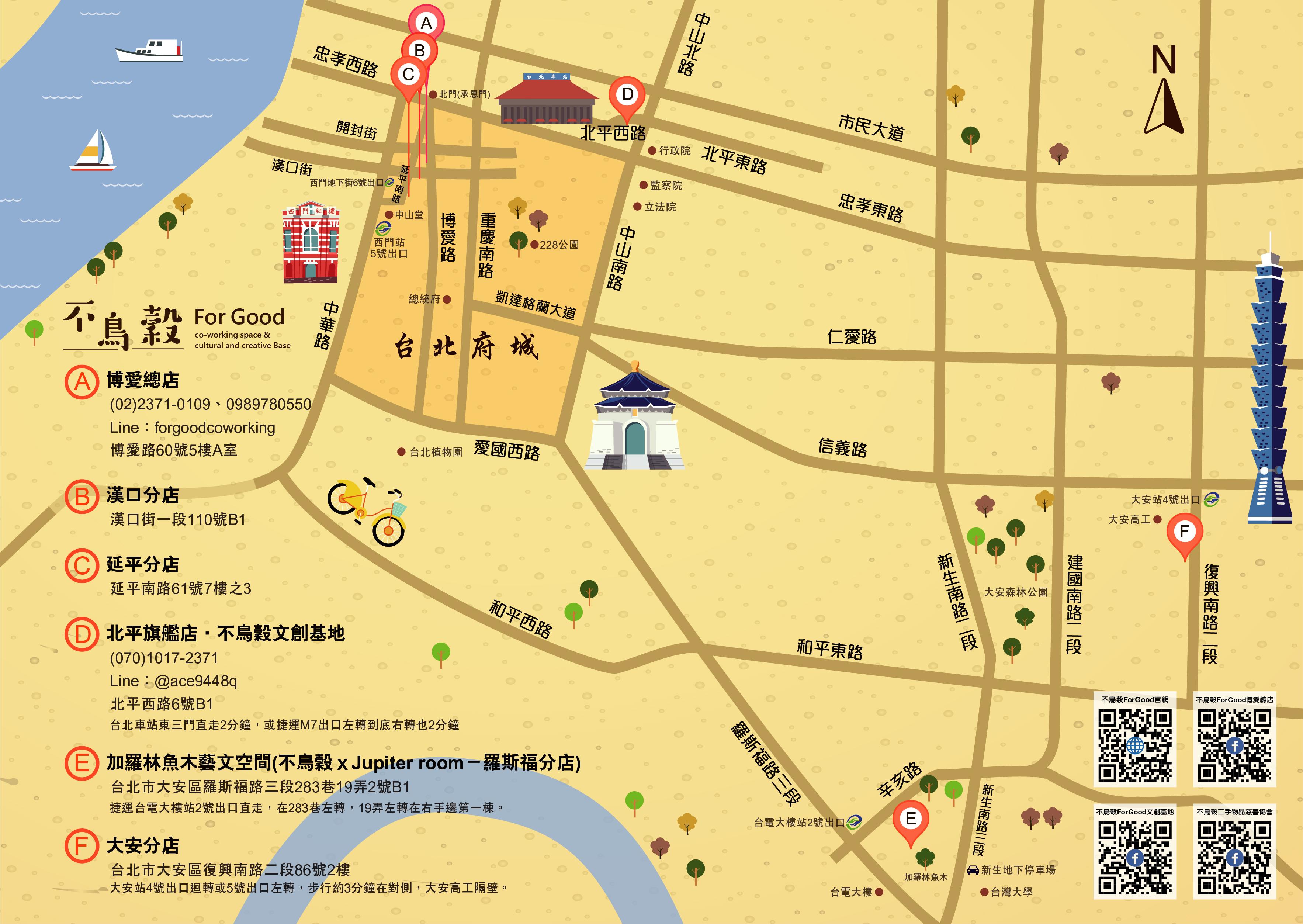 不鳥穀六店地圖、台北府城與QR Code
